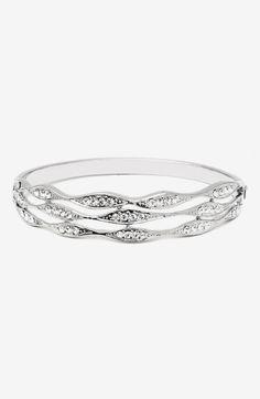Barzel Crystal & Silver Wave Bangle Made With SWAROVSKI ELEMENTS