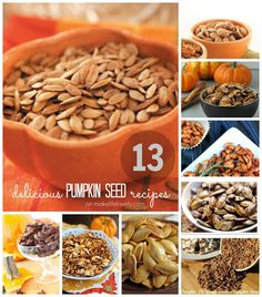 Make Life Lovely: 13 Delicious Pumpkin Seed Recipes Get these 13 delicious pumpkin recipes that your family will LOVE to eat this fall! A great variety of pumpkin seed recipes for you to try. Roasted Pumpkin Seeds, Roast Pumpkin, Flavored Pumpkin Seeds, Savory Pumpkin Seeds, Pumkin Seeds, Pumpkin Spice, Antipasto, Sin Gluten, Fall Recipes