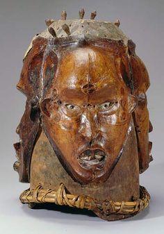Helmet Mask: Detelumo  c. 1900-1908  Enyatu society, Ejagham peoples, Ukelle Area, Ogoja Division, Cross River State, Nigeria triple faces  Wood, antelope skin, fur, ochers, iron, kaolin, pigment.198.jpg (350×500)