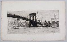 ELISHA KENT KANE WETHERILL (American, 1874-1929). etching: the Brooklyn Bridge, on Japanese vellum, unsigned, (image 6-1/2''h, 14-1/4''w), unframed, foxing