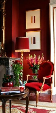 Decor home red interior design Ideas for 2019 Red Interior Design, Home Interior, Interior And Exterior, Interior Office, Office Art, Luxury Interior, Luxury Furniture, Red Home Decor, Red Wall Decor