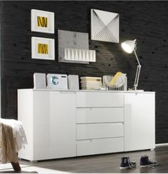 Cellini White High Gloss Wide Sideboard Storage Chest Dresser Unit By FurnitureFactor. Sleek Design with handle less design. White Gloss Fronts / Matt white sides and top. 2 Doors and 4 Drawers shelf behind each door). White Sideboard, Large Sideboard, Modern Sideboard, Chest Dresser, Dresser Drawers, Dressers, Dining Furniture, Home Furniture, Bedroom Furniture