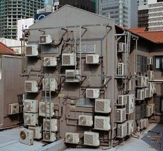 Can air conditioners be used to offset carbon emissions? Japan Architecture, City Aesthetic, Environment Concept Art, Slums, Environmental Art, Old Buildings, Urban Photography, Photo Reference, Building Design