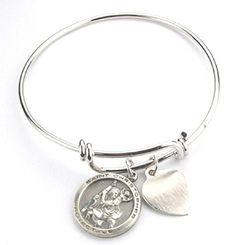 "Women's Pewter Saint Christopher Medal Bangle Bracelet, 2 3/4"". Qty 1."