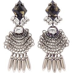 Dannijo Silver and Black Handmade Chain Mail Clea Earrings ($140) ❤ liked on Polyvore featuring jewelry, earrings, accessories, brincos, joias, black and silver chandelier earrings, chainmail jewelry, bullet stud earrings, swarovski crystal chandelier earrings and bullet jewelry