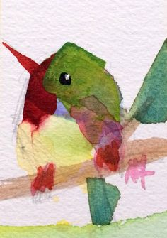 Tody Hummingbird no. Watercolor Ideas, Watercolor Pencils, Watercolor Animals, Abstract Watercolor, Watercolours, Watercolour Painting, Adult Coloring, Coloring Books, Bird Artists
