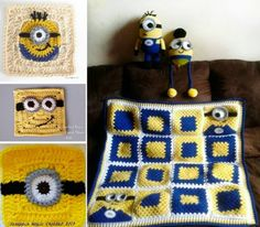 Minion Crochet Projects and Minion Granny Squares Free Patterns Grannies Crochet, Granny Square Crochet Pattern, Crochet Blocks, Crochet Squares, Crochet Motif, Crochet Afghans, Crochet Yarn, Free Crochet, Crochet Patterns