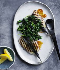 A simple but delicious recipe for blue mackerel, with tangy charred parsley and a tamari-cider dressing.