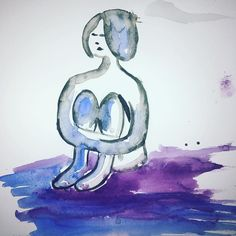 sitting woman watercolor purple blue silence vulnerable