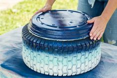3 Oversized Planters You Can Make From Upcycled Items | HGTV Diy Upcycled Planters, Diy Planter Box, Basket Planters, Planter Ideas, Outdoor Planters, Garden Ideas Homemade, Painted Trash Cans, Blue Spray Paint, Gardens