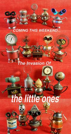 Invasion Of The Little Ones - assemblage sculptures - robots - - Roboterhand Arte Robot, Robot Art, Robots, Recycled Robot, Recycled Art, Repurposed, Found Object Art, Found Art, Altered Tins