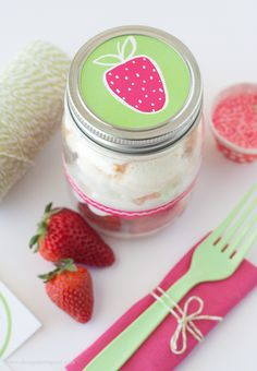 Free Printable Strawberry Jar Label