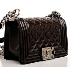 CHANEL Calfskin Double Stitch Small Boy Flap Black ❤ liked on ... : chanel quilted boy flap - Adamdwight.com