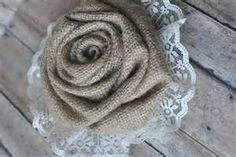 Burlap and lace flower accent-