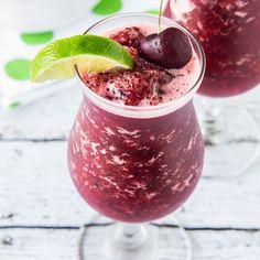 A recipe for Skinny Cherry Limeade Slushies. A refreshing, zero calorie cherry limeade slushies drink recipe.