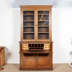 Giant Edwardian Oak Glazed Bureau Bookcase - Antiques Atlas Cubbies, Shelves, Cubby Hole, Birdseye Maple, Leather Tooling, Adjustable Shelving, Solid Oak, Tall Cabinet Storage, Bookcase