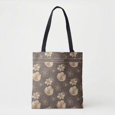 Chic Boho Gold Foil Floral Pattern All Over Print Tote Bag featuring a romantic, faux gold foil floral pattern on a warm chocolate brown background. Add your name or monogram for a beautiful, personalized design. Perfect for your hippie boho aesthetic. Monogram Tote Bags, Personalized Tote Bags, Custom Tote Bags, Printed Tote Bags, Boho Aesthetic, Elegant Chic, Gold Flowers, Chocolate Brown, Gold Foil