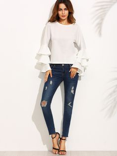 SheIn offers White Round Neck Ruffle Long Sleeve Blouse & more to fit your fashionable needs. Flutter Sleeve Top, Ruffle Sleeve, Ruffle Blouse, Ruffle Top, Ruffles, White Long Sleeve, Long Sleeve Tops, Long Sleeve Shirts, Blouse Models