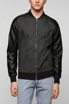 Damaged Goods Faux-Leather Mesh Bomber Jacket