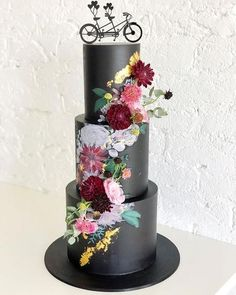 Ivy and Stone's Black 3 Tiered Floral Hand Painted Wedding Cake. Find out here ways you can have an anti-wedding! Ivy and Stone's Black 3 Tiered Floral Hand Painted Wedding Cake. Find out here ways you can have an anti-wedding! Black Wedding Cakes, Beautiful Wedding Cakes, Beautiful Cakes, Gold Wedding, Elegant Wedding, Wedding Ceremony, Creative Wedding Cakes, Wedding Cake Designs, Wedding Cake Centerpieces