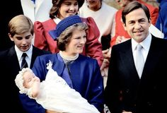 thegreekroyals:  At Princess Theodora's christening-Prince Nikolaos, and Princess Alexia with Queen Anne-Marie holding baby Theodora and King Constantine
