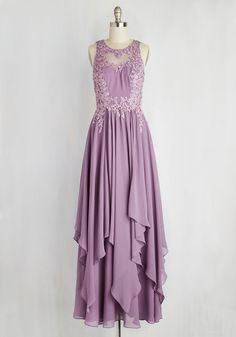 Advocate of Extravagance Dress in Lavender - Long, Purple, Solid, Embroidery, Special Occasion, Party, A-line, Maxi, Sleeveless, Spring, Woven, Exceptional, Scoop, Prom, Wedding Guest