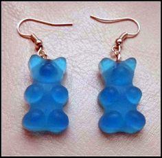 Handmade Light Blue Gummy Bear Earrings by BakedMemes on Etsy, £4.99