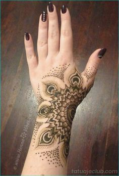 Henna Mehndi is one art we women absolutely love applying. Mehndi is for all occasions, be it weddings, festivals or even normal days ~ H. Mehndi Designs, Henna Tattoo Designs, Mehndi Tattoo, Henna Hand Tattoos, Cool Henna Designs, Hand Designs, Henna Tattoo Meanings, Wrist Hand Tattoo, Henna Inspired Tattoos