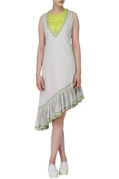 CHANDNI SAHI Water Grey Asymmetric Ruffled Dress with Green Ruched Top. Shop now! #chandnisahi #grey #ruffle #dress #contemporary #classic #style #fashion #indianfashion #indiandesigners #perniaspopupshop #happyshopping