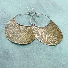 Etched BRASS and STERLING statement dangle by annieLANEjewelry