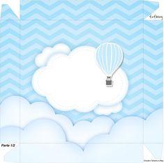 Caixa bombom Tampa Balão de Ar Quente Azul