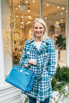 Miu Miu Houndstooth Coat Turquoise Birkin   The Style Scribe