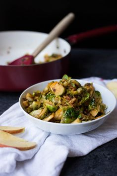 Sweet & Savory Brussels Sprout Skillet: A super simple brussels sprout dish that's perfect as a side! Naturally vegan and gluten free, and takes about 30 minutes from start to finish! || fooduzzi.com recipe