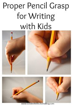 Pencil grasp development starts when your children are just a few months old. Come learn about Proper Pencil Grasp for Writing with Kids | www.GoldenReflectionsBlog.com
