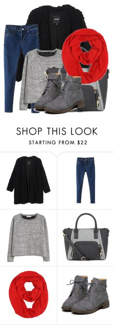 """""""Baby it's cold outside!"""" by whitehibiscus ❤ liked on Polyvore featuring Monki, MANGO, Boots, skinnyjeans, cold and redandblack"""