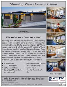 Just Listed! Real Estate for Sale: $1,095,000-4 Bd/3.1 Ba Exceptional Two Level Dove Hill Daylight Ranch Style Mtn/River View Home on Large .18 Acre Corner Lot at: 2004 NW 7th Ave, Camas, Clark County, WA! Area 32. Listing Broker: Carla Edwards (360) 936-3635, Realty Pro, Vancouver, WA! #realestate #JustListed #CamasRealEstate #DoveHill #ExceptionalHome #DaylightRanch #TwoLevel #MountainViews #RiverViews #FourBedroom #ThreeCarGarage #CarlaEdwards #RealtyProInc
