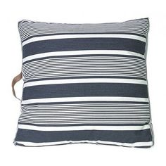 CUSHION   black stripe with leather handle by mrd home