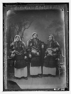 Reproduction of a photographic print of three Macedonian women, village Negochani (Niki)