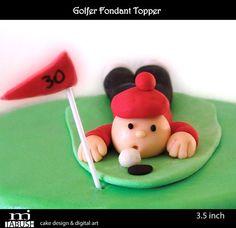 Golfer Fondant Topper by mjtabush on Etsy