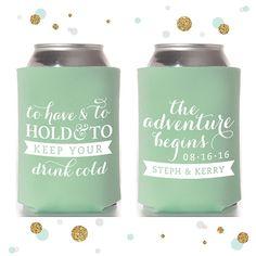 The Adventure Begins  Wedding Can Cooler 14  by SycamoreStudiosCa