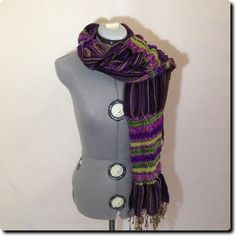 Mixed Textures and Patterns Boho Purple and Green Scarf Wrap accessory 74 X 17
