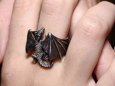 Dragon Ring.Fantasy.Vintage Dragon.Silver Dragon.Handmade Dragon.Fantasy Dragon.Dragon Necklace.Flying Dragon.Gothic Dragon.Dragon Gift.
