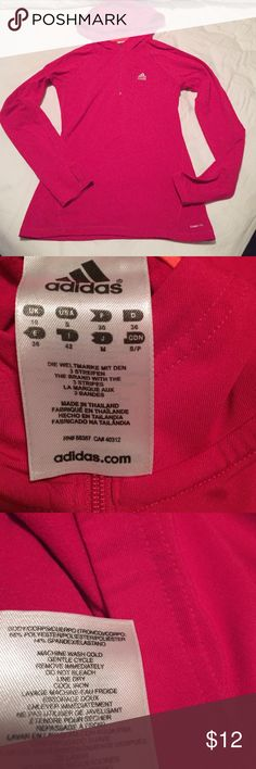 Micro fleece lined adidas top Great top for outdoor activities. Hooded and micro fleece lined. Thumb holes and two pockets one on front and other in back. Form fitting and flattering. Good used condition. Adidas Tops