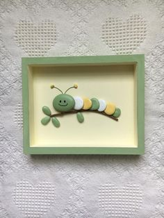 Caterpillar Decor Caterpillar Art Framed Pebble Art Nursery Wall Hanging Baby Shower Gift Kid S Room Wall Art Painted Stones - Painting new york Stone Crafts, Rock Crafts, Arts And Crafts, Button Art, Button Crafts, Kids Room Wall Art, Wall Art Decor, Wall Art Crafts, Wall Hanging Crafts