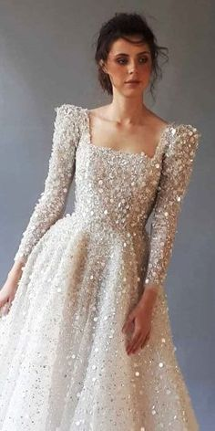 Long sleeve wedding dresses a line square neckline sequins Chana Marelu . - Long sleeve wedding dresses a line square neckline sequins Chana Marelus – - Long Wedding Dresses, Long Sleeve Wedding, Bridal Dresses, Lace Dresses, Wedding Gowns, Sequin Prom Dresses, Pakistani Wedding Dresses, Chic Wedding, Dresses With Sleeves