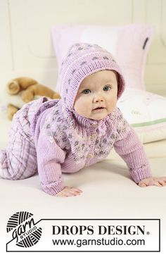 """DROPS Baby - Knitted DROPS jacket with raglan sleeves and turtle neck, bonnet and socks with pattern in """"Merino Extra Fine"""". - Free pattern by DROPS Design Baby Knitting Patterns, Free Baby Patterns, Knitting For Kids, Free Knitting, Knitting Projects, Crochet Patterns, Free Pattern, Drops Design, Crochet Baby"""