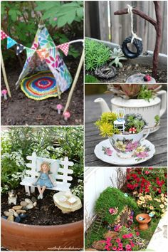Front shade garden would be perfect place, A has been wanting to make one for months Fairy gardens are so much fun! The possibilities for these enchanting little gardens are endless. You can make them entirely yourself or buy some of the Kids Fairy Garden, Fairy Garden Furniture, Fairy Garden Houses, Fairy Gardening, Fairies Garden, Kitchen Gardening, Gnome Garden, Plants For Fairy Garden, Diy Fairy House