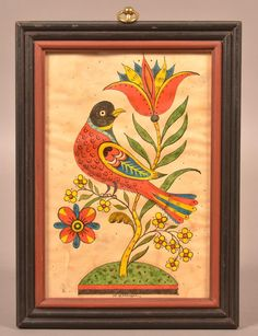 Lot: D. Ellinger Folk Art Watercolor of Bird in Tree., Lot Number: 0250, Starting Bid: $100, Auctioneer: Conestoga Auction Company Division of Hess Auction Group, Auction: ANTIQUE