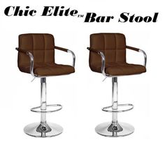 Chic Elite Modern Adjustable Synthetic Leather Bar Stools - Brown - Set of 2 - http://www.furniturendecor.com/chic-elite-modern-adjustable-synthetic-leather-bar-stools-brown/