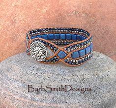 Blue Cobalt Silver Cuff Bracelet The Diamond by BarbSmithDesigns